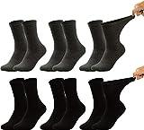 Vitasox Calcetines de salud para hombre, cintura extra ancha, sin goma, calcetines agradables a la vena, con caña ancha para evitar cortes y presiones 6 x negro antracita 35-38