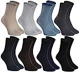 Rainbow Socks - Hombre Mujer Calcetines Diabéticos Sin Elasticos - 8 Pares - Beige Marrón Negro Grafito Azul Marino Caqui Azul y Gris - Talla 36-38