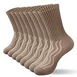 8 pares de calcetines diabéticos unisex calcetines de algodón transpirables y antibacterianos Calcetines de tripulación Brown13-15